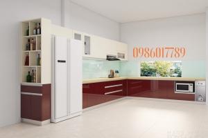 Tủ bếp cốt nhựa đặc pvc sử dụng acrylic bóng gương cực sang chảnh nhà anh Dũng_TP. Hà Giang.