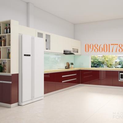 Tủ bếp cốt nhựa đặc pvc sử dụng acrylic bóng gương cực sang chảnh nhà anh Dũng thành phố Hà Giang.