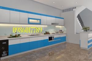 Tủ bếp nhựa kết hợp cùng bàn bar nhà chị Hằng - đường Trần Phú - TP. Việt Trì