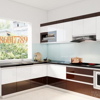 Tủ bếp nhựa chữ L màu cà phê sang trọng nhà chị Nhung - TT. Đông Anh - Hà Nội