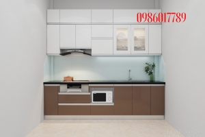 Tủ bếp nhựa pvc đặc cánh Acrylic cực sang chảnh nhà chị Hiền phố Dương Văn Bé_Minh Khai_Hà Nội