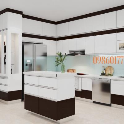 Tủ bếp nhựa kết hợp bàn bar phong cách hiện đại nhà chị Hoài biệt thự trong khu đô thị Hà Đông - Hà Nội