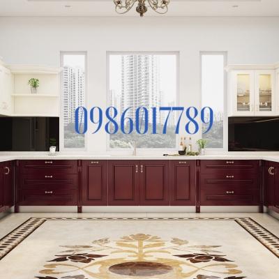 Tủ bếp cổ điển với tông màu sang trọng nhà anh Hải Đăng , thành phố Hải Phòng