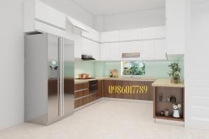 Tủ bếp  chữ U kết hợp giữa acrylic và laminate cùng phong cách phối màu dịu dàng nhà anh Trung biệt thự Mahatan khu Vincom Hải Phòng