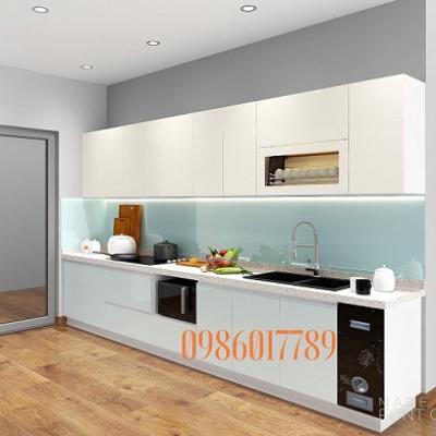 Tủ bếp thẳng 4m nhà anh Điệp chung cư An Bình - Bộ công an - Hà Nội