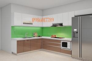 Tủ bếp nhựa sang trọng nhà chị Nguyệt trung tâm thị trấn Tiên Lãng Hải Phòng