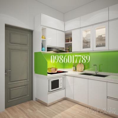 Tủ bếp chữ L màu trắng sang trọng nhà chị Hường - Hoàng Quốc Việt - Hà Nội
