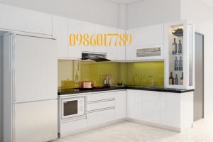 Tủ bếp nhựa PVC màu trắng nhà anh Tuấn khu biệt thự báo nhân dân - Từ Liêm - Hà Nội