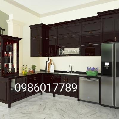 Tủ bếp nhựa cổ điển mang lại sự tinh tế thay cho căn bếp gỗ nhà Chú Quang, Kim Mã, Hà Nội