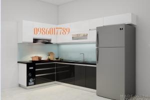Tủ bếp chữ L chung cư ngoại giao đoàn của chị Lan Anh - Hà Nội