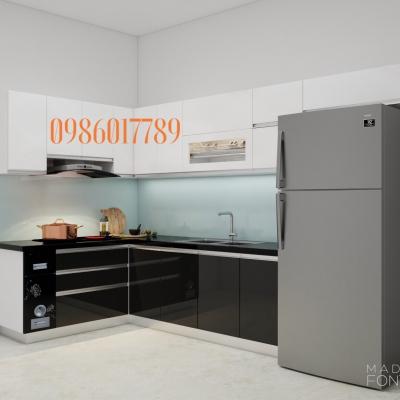 Tủ bếp chữ L chung cư ngoại giao đoàn của chị Lan Anh ,Hà Nội