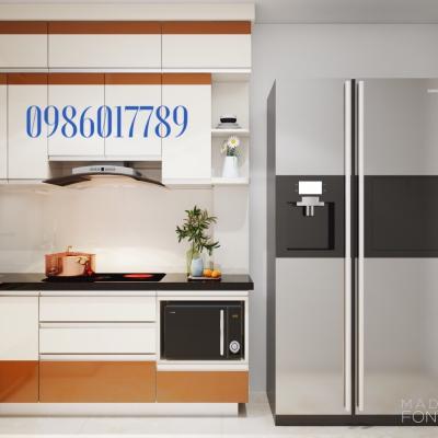 Tủ bếp nhựa nhỏ cho căn bếp được cải tạo lại nhà cô Liên, phố Thái Thịnh , Hà Nội