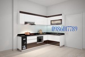 Tủ bếp chữ L cho 1 không gian vừa phải.Ngoài những tính năng cơ bản còn có thêm điểm nhấn mà cà phê tạo sự sang trọng cần thiết