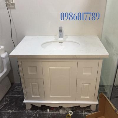 Tủ lavabo cổ điển màu trắng có chiều ngang 1 mét,mẫu thực tế