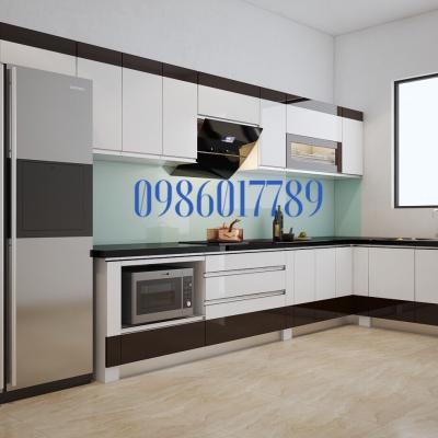 Tủ bếp nhựa cao cấp nhà chị Thoa - An Lão - Hải Phòng với tông màu trắng kết hợp cùng điểm chút màu cà phê nhẹ nhàng
