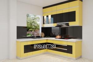 Tủ bếp nhưa theo gam màu nổi bật nhà chị Thúy -TP. Hải Dương