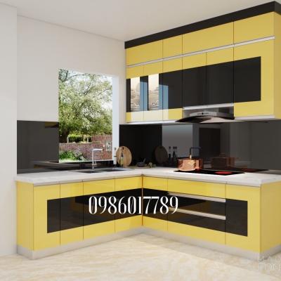Tủ bếp nhưa theo gam màu nổi bật nhà chị Thúy, thành phố Hải Dương