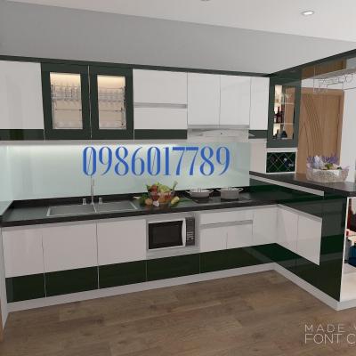 Tủ bếp nhỏ kết hợp quầy bar tủ rượu nhà anh Thắng - TP. Thái Nguyên