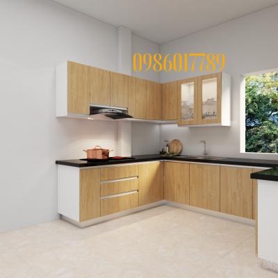 Tủ bếp nhựa chữ U thiết kế thi công tại nhà chị Hạnh Hải Dương