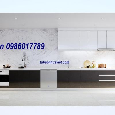Tủ Bếp Nhựa PVC Đẹp, trang nhã Nhà Anh Hoàng Anh Gramuda Hà Nội