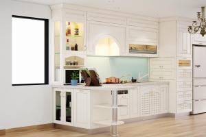 Tủ bếp nhựa sơn ánh kim nhà chị Oanh Vincom Imperia Hải Phòng